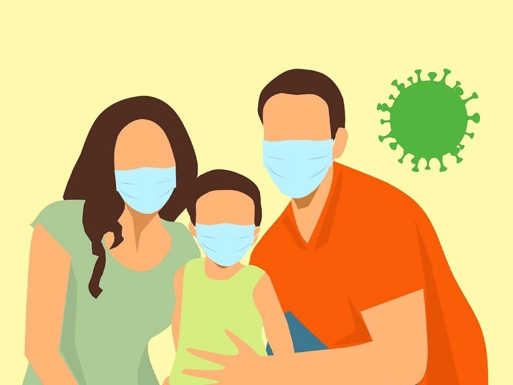 Bambini - famiglia con mascherine